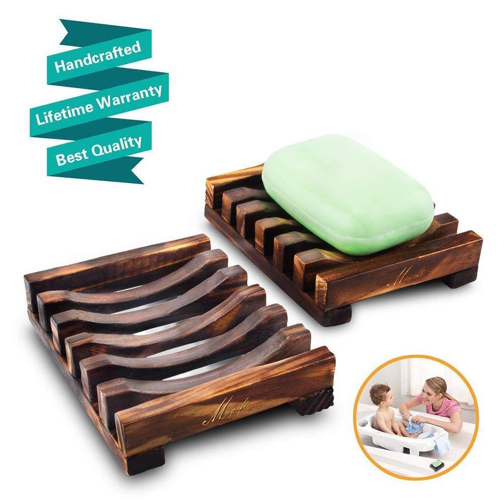 MEIWO 2Pcs Natura Jaboneras de Madera Jabonera de bambú Soap Box Bandeja de Madera Holder para Home Bathroom Rack Water Draining Design (10.8 x 8 x 2.5cm)