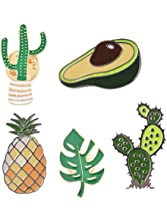 MJartoria Cream Cactus Pineapple Novelty Cartoon Enamel Brooch Pin Set for Party Friends (Avocado Pin Set)