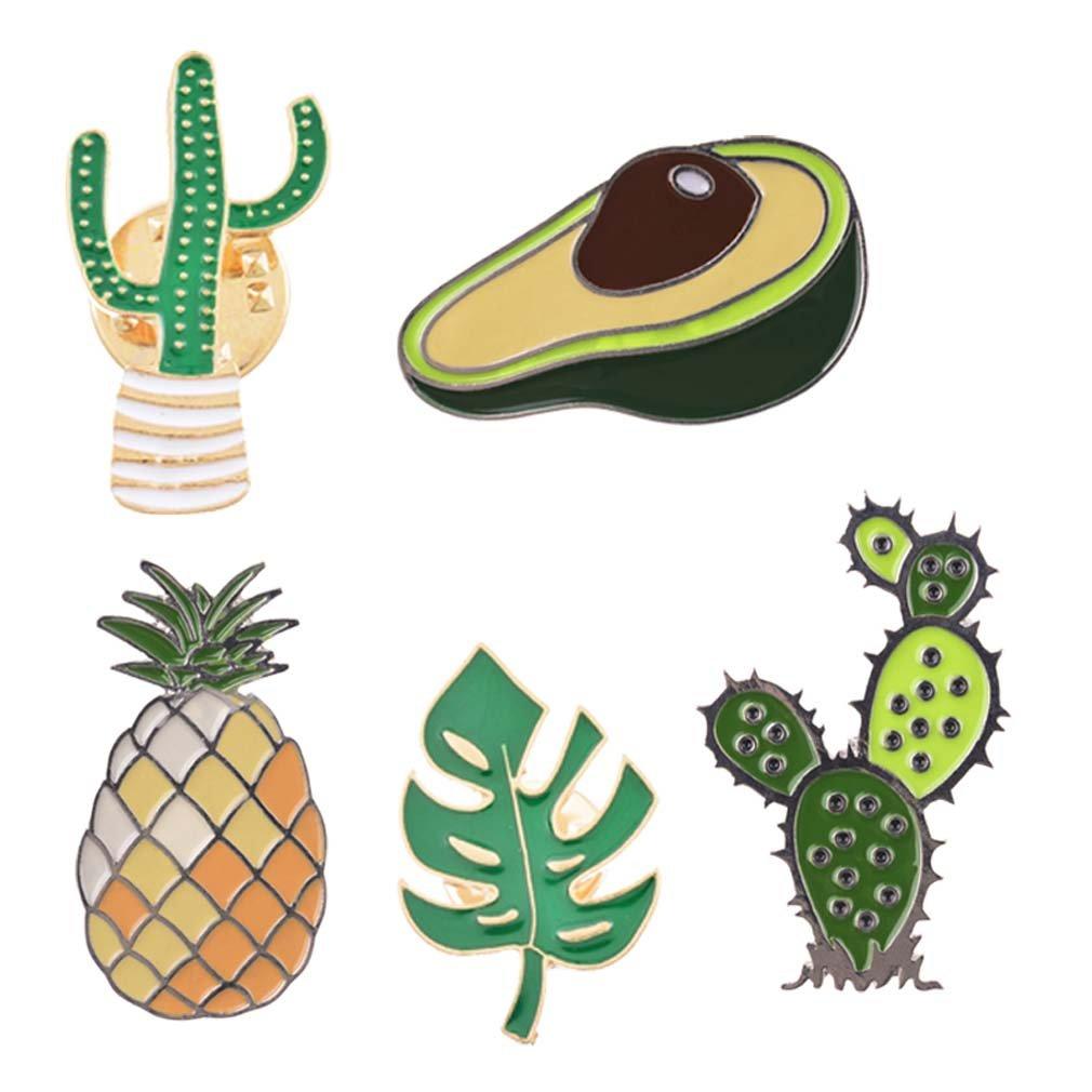 MJartoria Cream Cactus Pineapple Novelty Cartoon Enamel Brooch Pin Set for Party Friends (Avocado Pin Set)