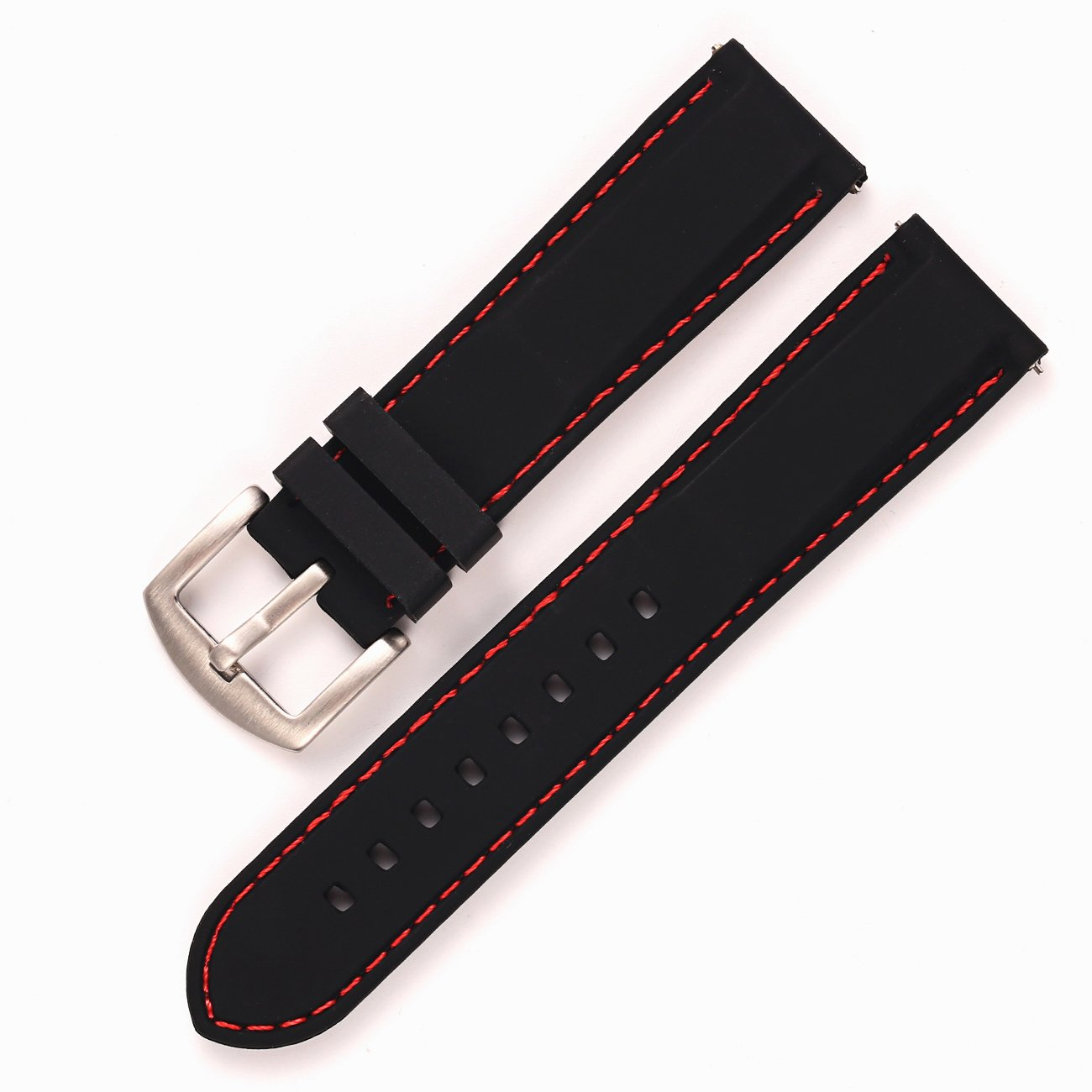 22mm Quick Release Replacement Watch Bands for Men - Premium Silicone Rubber Watch Bands Black(Red Stitching Silver Buckle) by Carty (Image #2)
