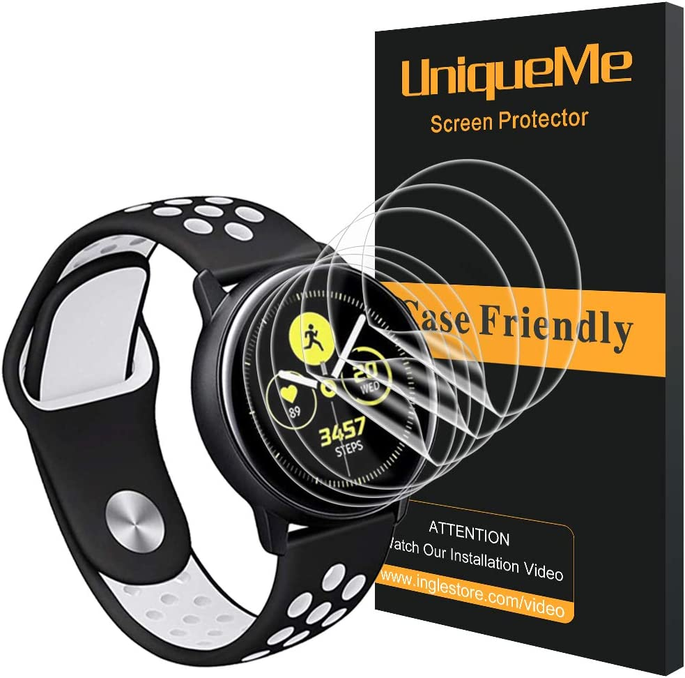 [6 Pack] UniqueMe for Samsung Galaxy Watch Active Screen Protector,[Anti-Bubble] [HD Clear] Full Coverage Film with Lifetime Replacement Warranty