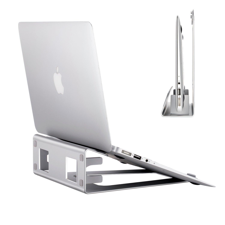2-in-1 Verticale di Supporto in Alluminio APPHOEM Regolabile del Tavolo Salvaspazio Computer Display per Apple MacBook Pro/Air Laptop Stand APPHOME