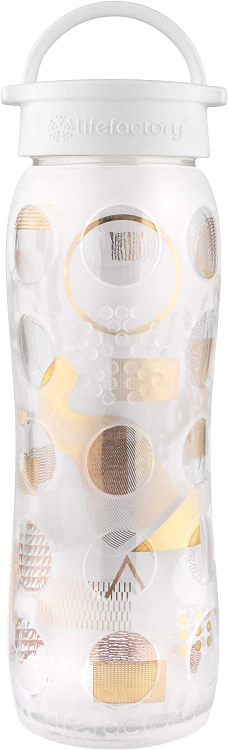 Clear Moderniste Lifefactory 22-Ounce BPA-Free and Fused Gold Glass Water Bottle with Leakproof Classic Cap and Silicone Sleeve
