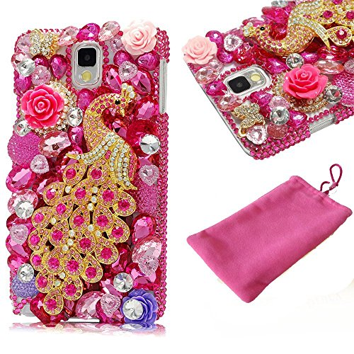 Galaxy S7 Edge Case, Diamond Sparkle Gem Jeweled Bling Stones Full 3D Crystal Rhinestones Peacock Decor Hard Hot Pink Cover with Phone Velvet Pouch for Samsung Galaxy S7 Edge G9350