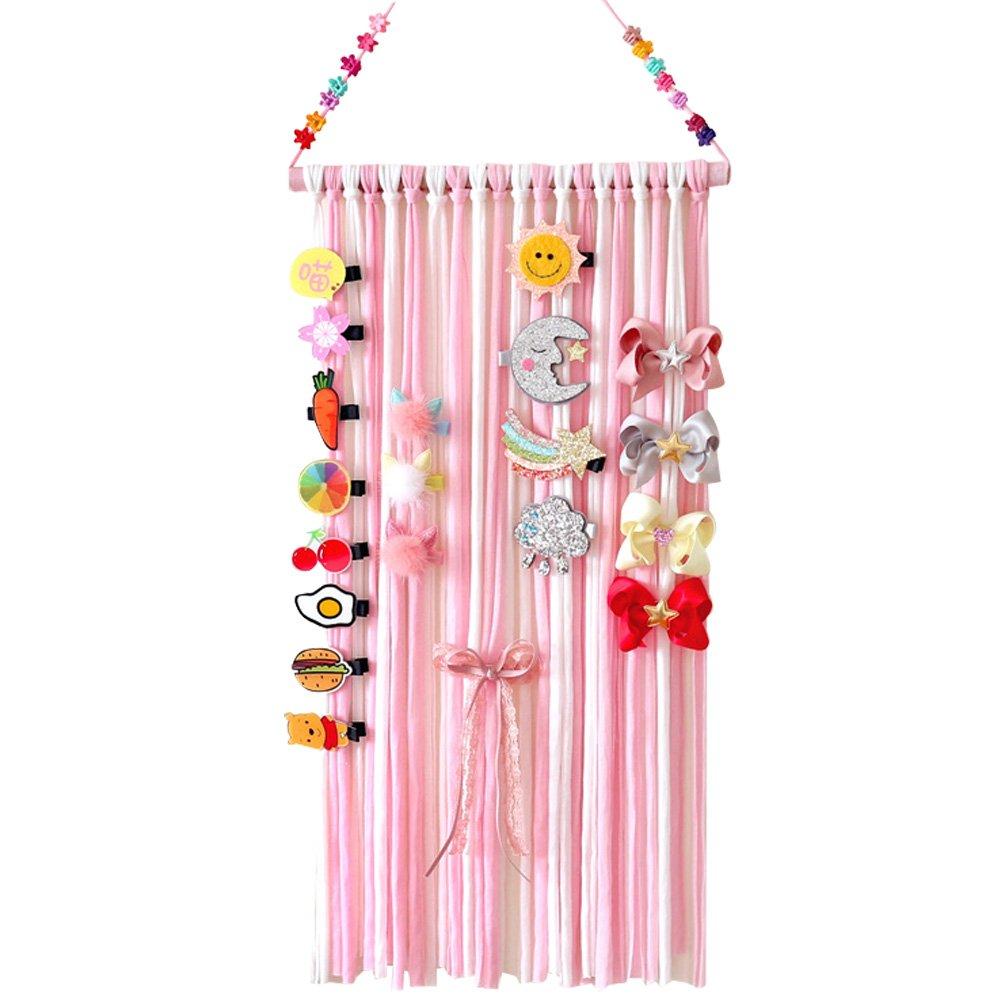 Hair Clips Holder, Girls Women Fringe Hair Bows Headband Storage Organizer (Pink) Aiernuo