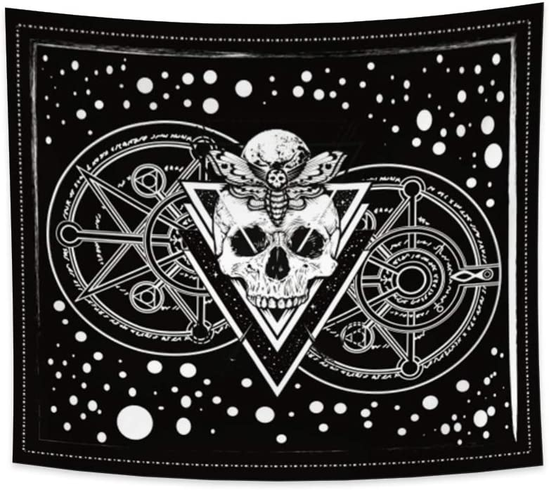 Yongto Mysterious Skull Tapestry Trippy Skeleton Moth Tapestry Psychedelic Black and White Tarot Wall Tapestry Mystic Magic Circle Imagine Tapestry Wall Hanging Home Decor Polyester 51.2x44.5 inches
