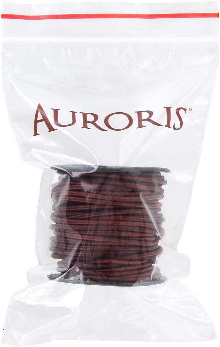 10m Rolle Lederband rund antik-braun Auroris /Ø 4mm