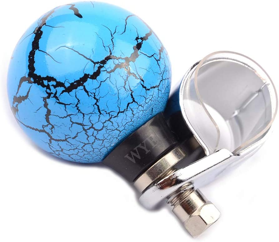 WYF Blue Thunder Ball Steering Wheel Power Handle Suicide Spinner Assist Ball Knob Booster for Most Car Vehicles
