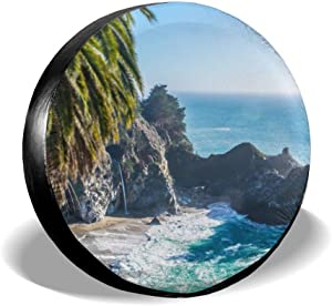 N/D Blue Nature Ocean Rocks Sea Seascape Sky Water Waves Spare Tire Covers, Waterproof Dust-Proof Sun Protection Universal Wheel Tire Protectors Fits Tire for Rear,Trailers, RV, SUV and Many Vehicle