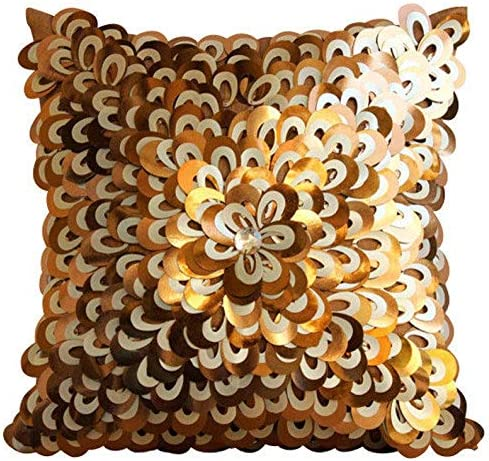 Designer Copper European Shams 26×26 inch 65×65 cm , Silk Euro Sham Covers, Abstract, Floral, 3D, Textured Sequins, Modern Euro Pillow Covers – Floral Lust