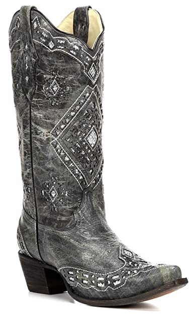 23300207a77 CORRAL Women's A2963 Glitter Inlay Black Western Boots 7.5 M