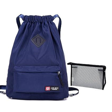Cordón impermeable Cadena Bolso Mochila Unisex ligero Sackpack Gimnasio  Saco Cinch bolsa deportiva con bolsillo para 8a28324fc563a