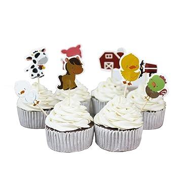 Stobok 24 Stucke Bauernhoftier Kuchen Topper Cupcake Picks Deko Tier