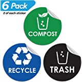 "Recycle Trash Compost Bin Sticker - 4"" x 4"" - Organize Garbage Waste from Recycling - Decal Stickers for Metal Aluminum Steel or Plastic Trash Cans - Indoor & Outdoor - Use at Home Kitchen & Office"