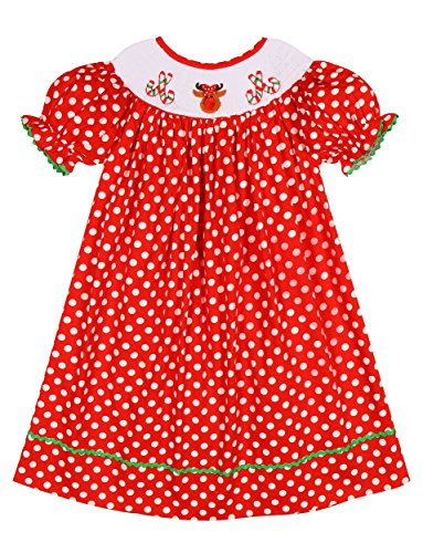 Red Smocked Dress - 1