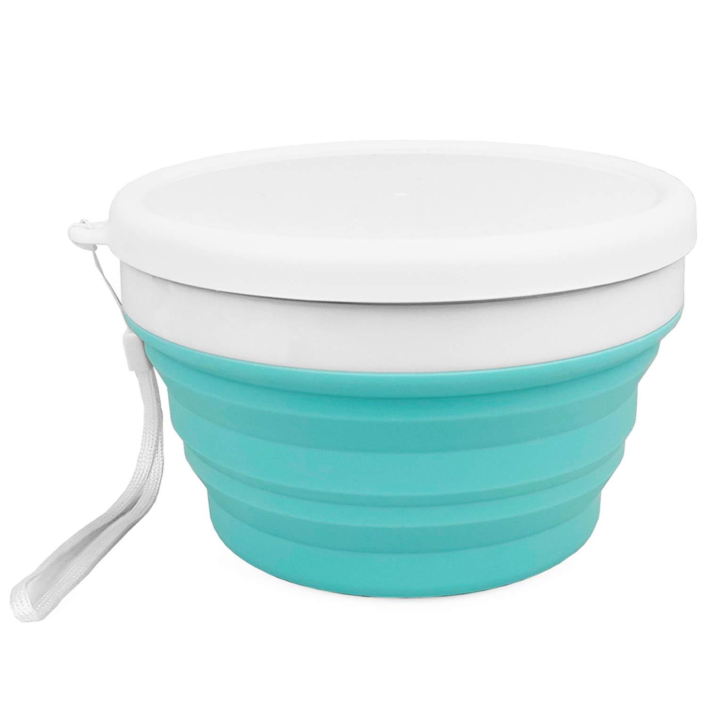 Cuencos de silicona para almacenamiento de alimentos con tapas 900 ml aptos para microondas plegables sin BPA para camping y senderismo congelador