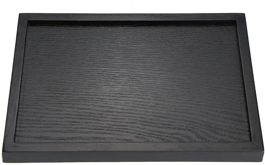 22 * 12 * 2cm schwarz Holz Tee Tablett rechteckig Serviertablett f/ür Tee Kaffee Gl/äser