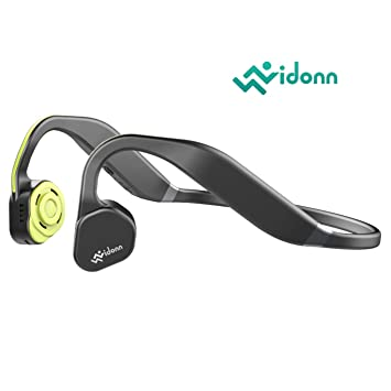 vidonn F1 titanio deporte inalámbrico auriculares Bluetooth abierto conducción ósea auriculares con micrófono para correr ciclismo senderismo, Yellow Grey: ...