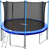 TÜV Approved Zupapa 15FT 14FT 12FT Trampoline with Ladder & Pole and Enclosure net & Safety Pad & Jumping Mat & Cover & Spring Pull T-hook Include all accessories you need