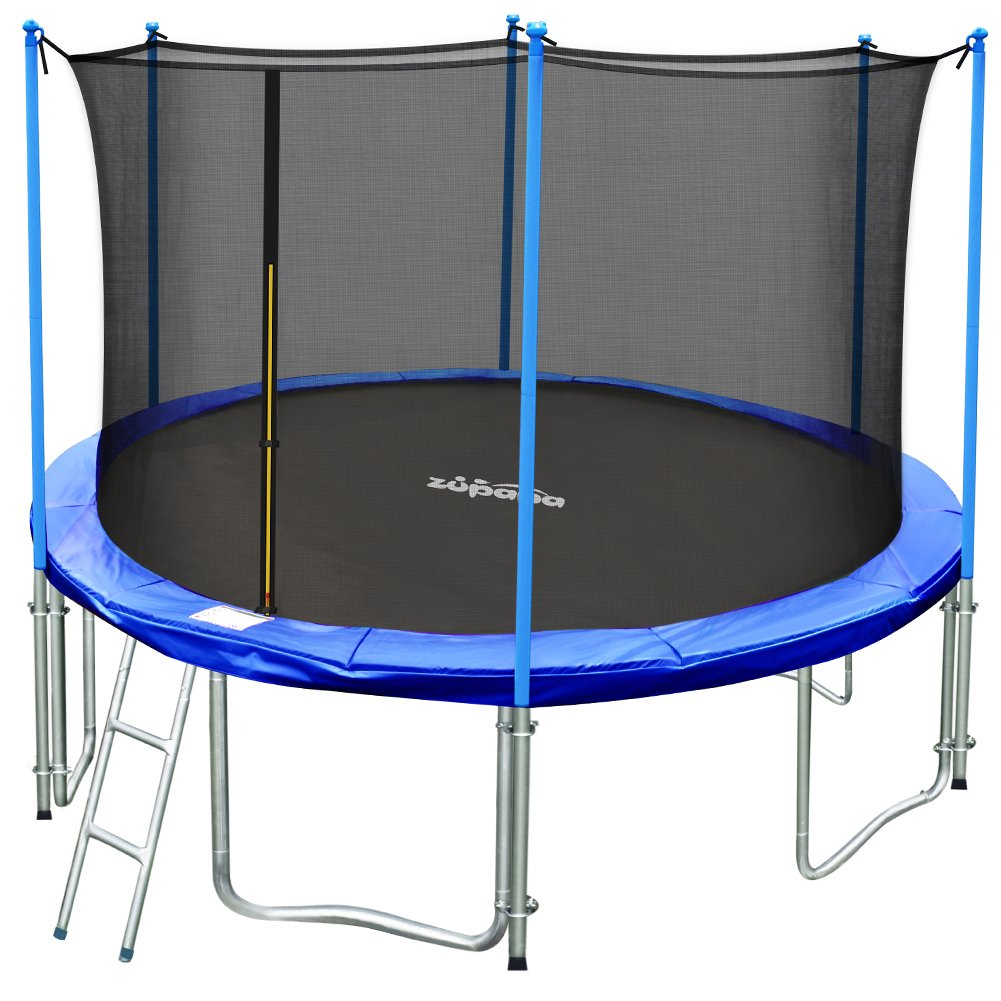 Zupapa 15FT 14FT 12FT TUV Approved Kids Trampoline with Enclosure net, Ladder Pole Safety Pad Jumping Mat Spring Pull T-Hook, Include All Accessories, Great Outdoor Backyard Trampoline (14FT) by Zupapa
