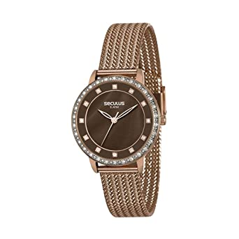 c40dd87728d Relógio Seculus Feminino Analógico Marrom 13021LPSVXS3  Amazon.com.br   Amazon Moda