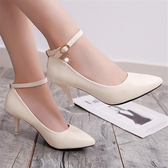 ed5ca508 SHINIK 2018 zapatos de primavera nuevos de las mujeres tacones altos  zapatos negros de las señoras para el banquete de boda y la tarde (Color :  Blanco, ...
