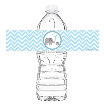 POP parties Little Elephant Blue Bottle Wraps - Set of 20 - Baby Shower Water Bottle Labels - Baby Shower Decorations - Made in The USA - Blue: Toys & Games