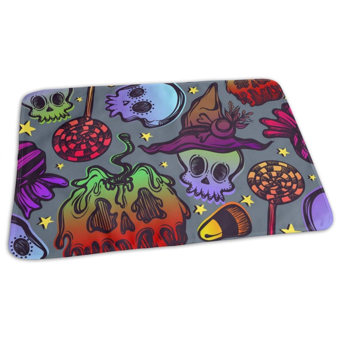 Osvbs Lovely Baby Reusable Waterproof Portable Halloween Skull Poisoning Apples and Candies Changing Pad Home Travel 27.5''x19.7'' by Osvbs
