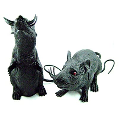 Graveyard Rat Spooky Halloween Plastic Squeaking Rats 8 - 9 Inches Tall: Toys & Games