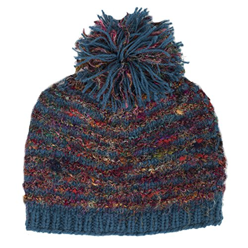 Winter Wonder Recycled Silk Hand Knit Hat with Pom Pom-Blue-One Size ()