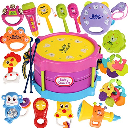 ROWAG 23 Pieces Baby Drum Set for Boy Girl Educational Kids Rattle and Rock Musical Instrument Playset Toys (Little Girl Drum Set)