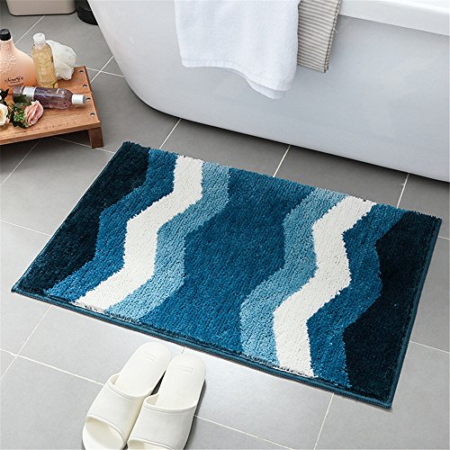 (Hepix Blue Chevron Bath Rug, Machine Washable, 18