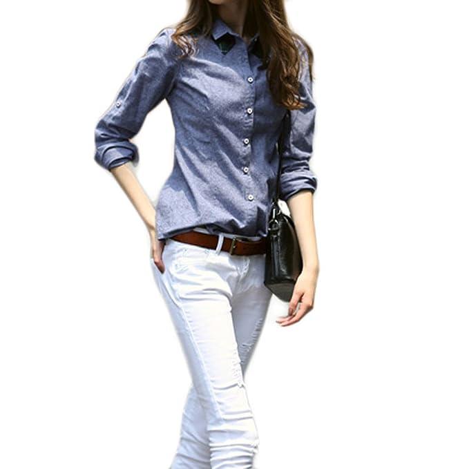 eef65aa05e PDFGO para Mujer Manga Larga Camisa Primavera Camisa Moda Camisa A Cuadros  Algodón Retro Desenfadado Delgado