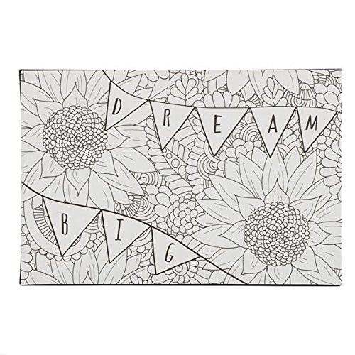 DCI Color Joy Dream Big Art Block, Coloring Products, DIY Crafts, Flowers Pattern, Ready to Display on Wall or Shelf, 4 x 7 x .75 , Great for kids and adults alike