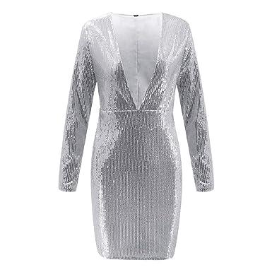 566a916dc52 iHAZA Mini Robe pour Femmes à Manches Longues et à Fronces Paillettes  Profondes de Discothèque  Amazon.fr  Vêtements et accessoires