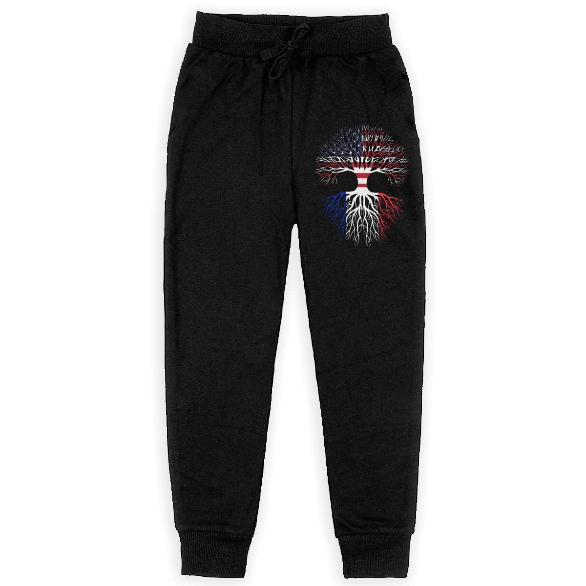 WYZVK22 American Grown France Roots Soft//Cozy Sweatpants Girls Active Basic Jogger Fleece Pants for Teen Boy