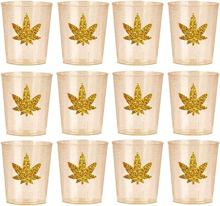 420 Party GOLD EDITION, Marijuana Leaf plastic shot glasses Marijuana leaf theme party, marijuana bachelorette party, cannabis party decor