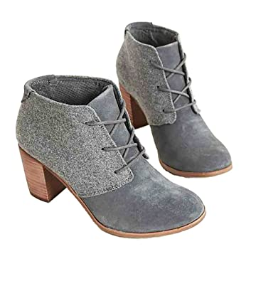 60a69d0b38 Amazon.com | Fashare Womens Combat Lace Up Ankle Boots High Block ...