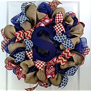 Burlap Monogram Mesh Door Wreath; navy blue red white 116