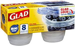 Glad Food Storage Containers, Mini Round (4 Oz) -8 Count, Standard