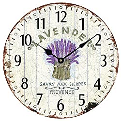 Wooden 12 Wall Clock Atomic Retro American Lavender Pattern Roman Number Quite Silent Non-Ticking Hand Room Decorative Wall Kids Room