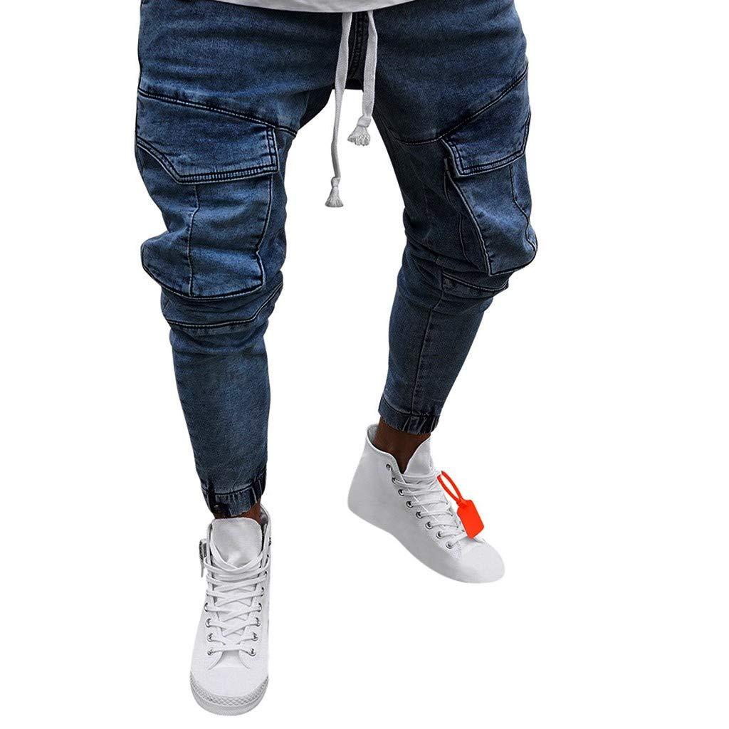 Mens Sweatpants, F_Gotal Men's Casual Solid Long Jeans Drawstring Elastic Waist Corset Trouser Sports Pants with Pockets Dark Blue