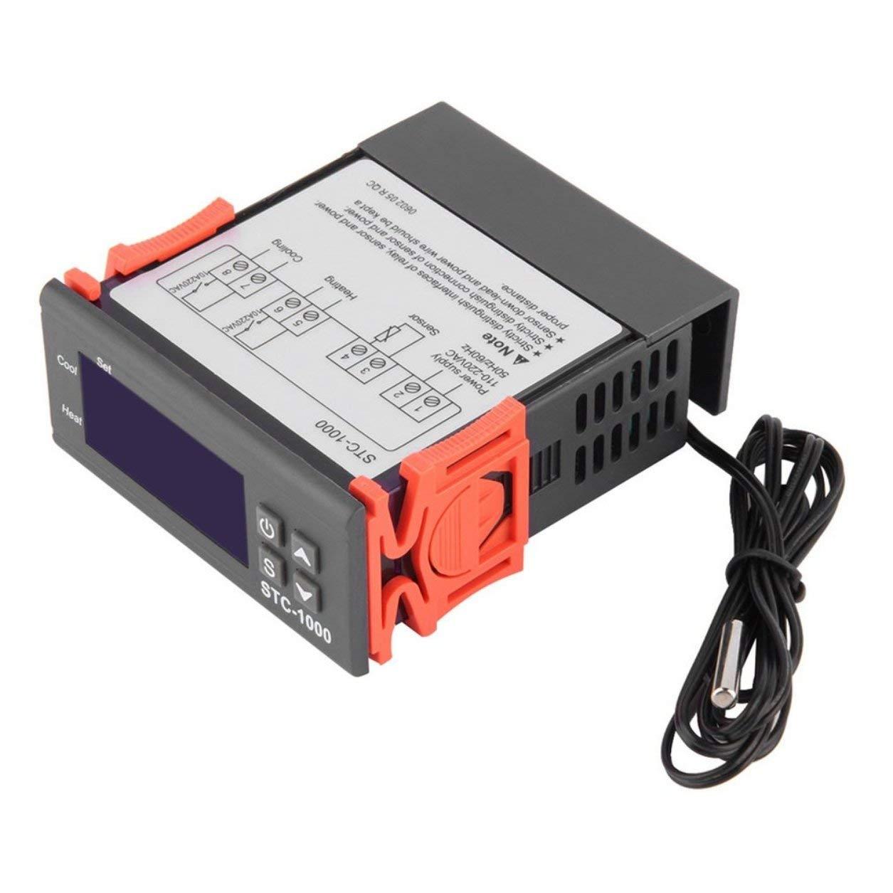 Termostato universal multifunció n negro para el termostato digital STC-1000 con herramienta de diagnó stico para instrumento de temperatura del sensor Dailyinshop