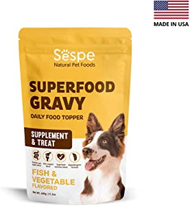 SESPE Superfood Gravy Nutritional Supplement for Dogs with Glucosamine for Pain-Free Joints, Probiotics for Healthy Digestion, Superfood Vitamins & Minerals for Nutrition – All Natural