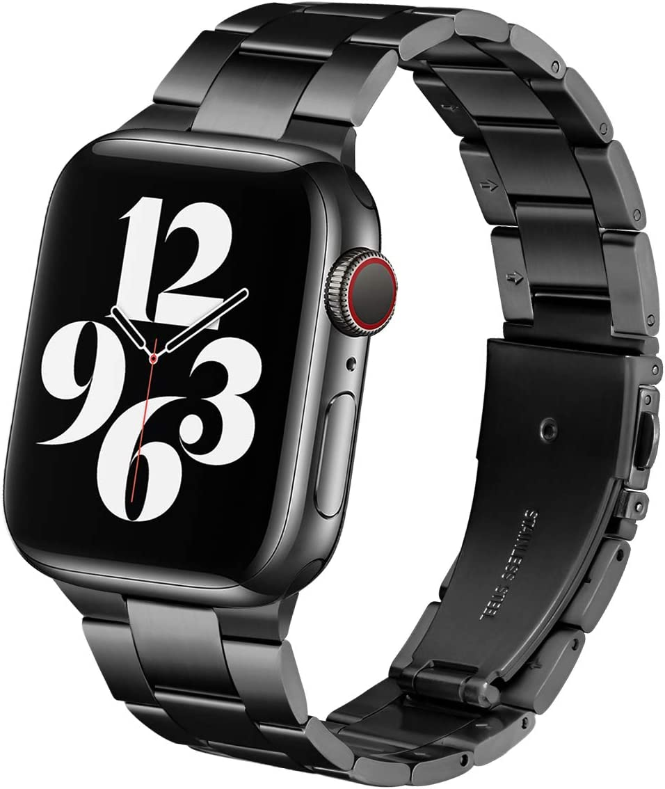 Steel Band Compatible with Apple Watch Bands 38mm 40mm, Business & Leisure Upgraded Stainless Steel Metal Solid Replacement Strap for iWatch Series 6/5/4/3/2/1 & SE Men and Women - Black