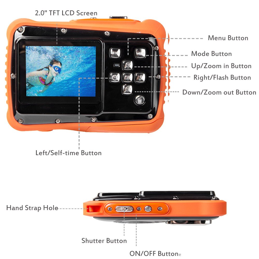 Digital Camera for Kids, Waterproof Sport Action Camera Camcorder Cam with 2.0'' LCD Screen,TOP-MAX Super HD Underwater Digital Video Camera Record Cam for Sports Swimming Diving and Beaching by TOP-MAX (Image #4)