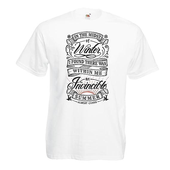 Camisetas Hombre En Medio del Invierno, encontré Que Había, Dentro de mí, un Verano invencible - Citas Famosas sobre la Vida: Amazon.es: Ropa y accesorios