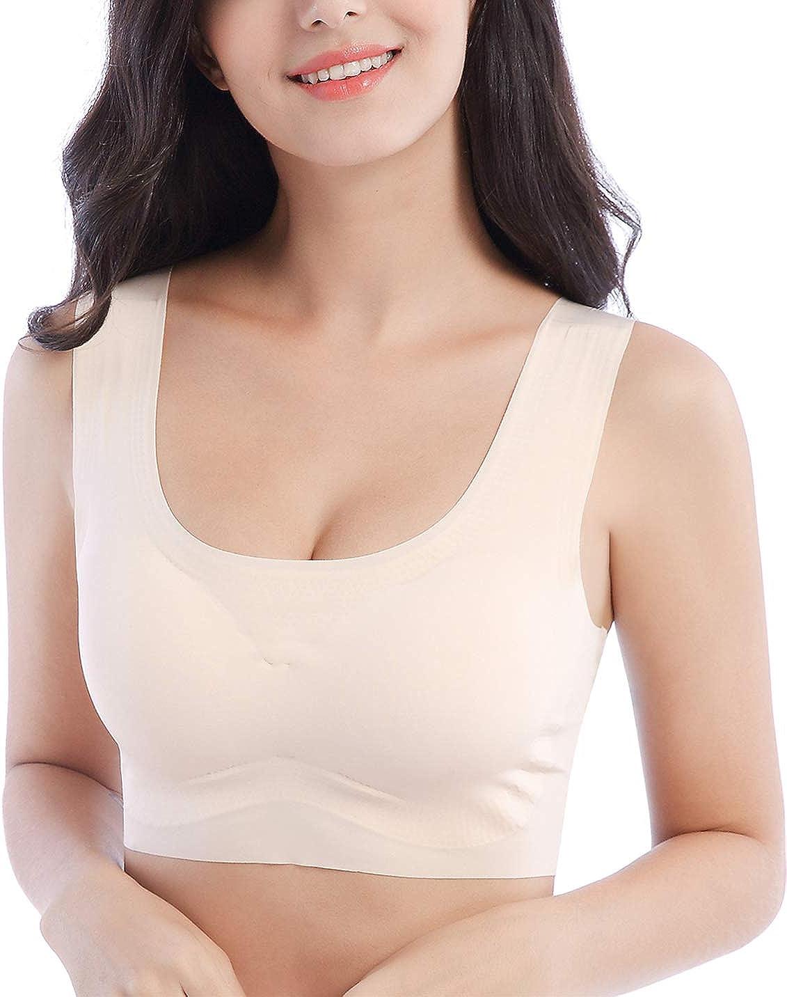 Xuvozta Women Seamless Bralette Wirefree Yoga Bra Soft Sleeping Bra Removable Pad