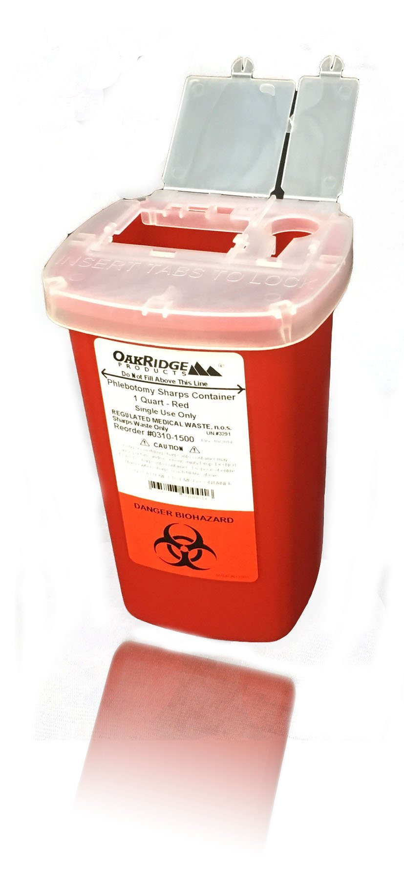 Oakridge Products 1 Quart Size Sharps and Needle Container | Integrated Needle unwinder