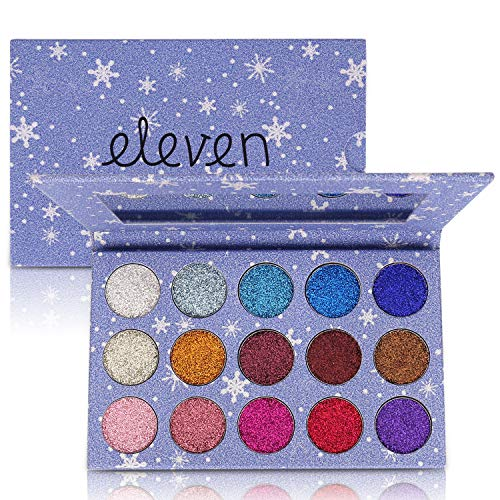 ELEVEN EVER 15 Colors Glitter Eyeshadow Palette, Professional Highly Pigmented and Long-Lasting Mineral Shimmer Makeup Pallet (Blue)